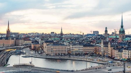 Stockholm city skyline at sunset